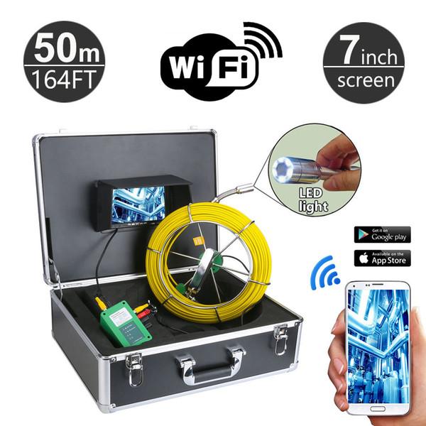 7 polegadas WiFi Tubo Inspeção Câmera de Vídeo de drenagem de esgoto industrial endoscópio Cobra Video Pipeline 1000 TVL câmera 20M-50M selecionável