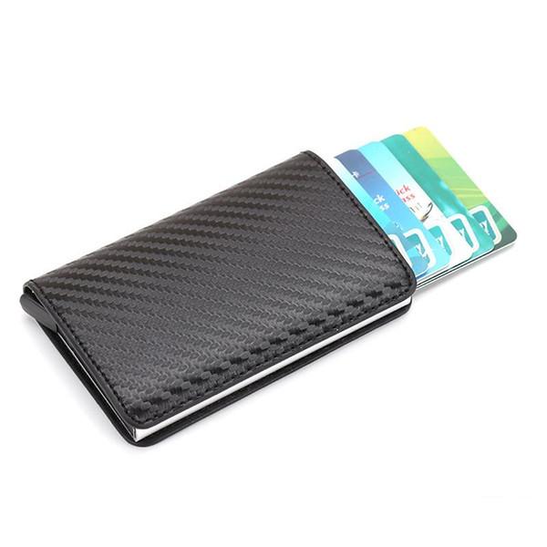 New Antitheft Men Vintage Credit Card Holder Blocking Rfid Wallet Leather Unisex Security Information Aluminum Metal Purse