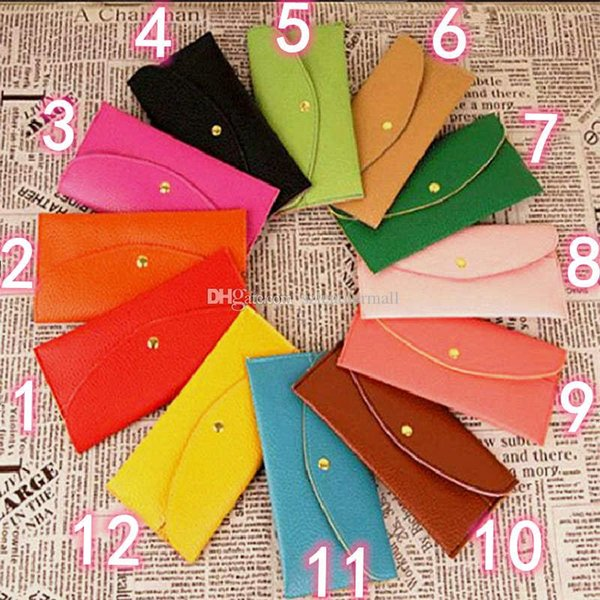 best selling The new fashion small envelope women's bag long style wallet Korean version colorful candy color card bag 12 color