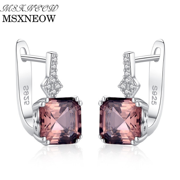 MSXNEOW Created Nano Smoke /White Morgan Stone Diamond Clip On Earrings For Women Luxury 925 Silver Cuff Earring Gifts SE0108 Y18110503