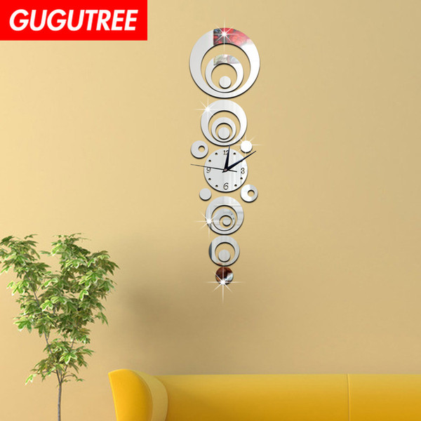 Decorate Home 3D number mirror clock art wall sticker decoration Decals mural painting Removable Decor Wallpaper G-17