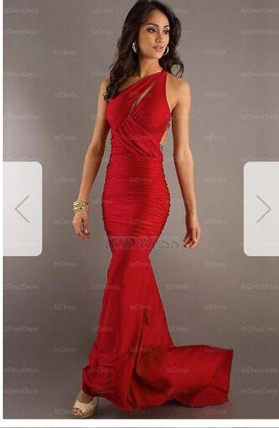 Trumpet/Mermaid One Shoulder Court Train Jersey Prom DressW9