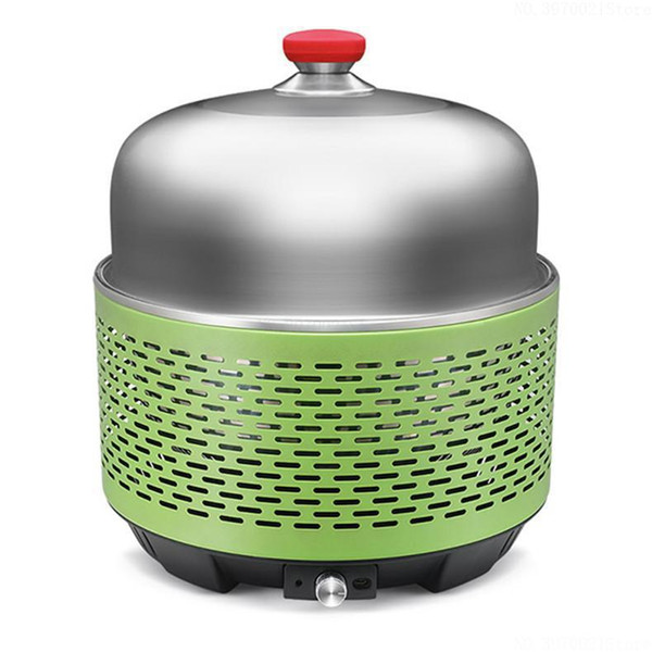 Outdoor Camping BBQ Burner with Flat Wok Natural Charcoal Fuel Char broiler and Cordless Electric Ventilation System
