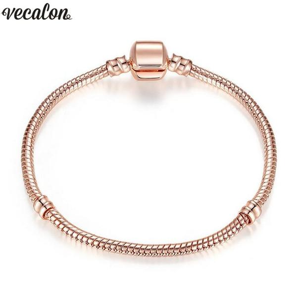 Handmade Bracelet Fit Bead 925 Silver Rose Gold Filled Snake Chain Bangle & Bracelet Luxury Party Jewelry 16-23CM Women Gift
