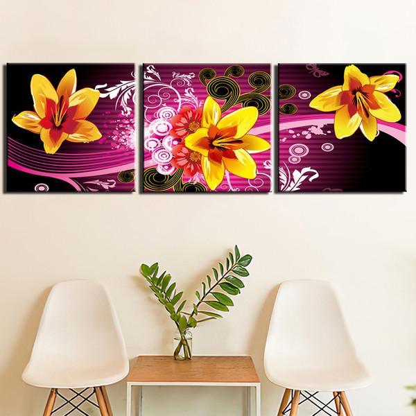 Poster Ev Dekorasyonu İçin Living Room Boyama Modern HD Baskılı Wall Art Canvas Resimler 3 adet Sarı Nilüfer Çiçek
