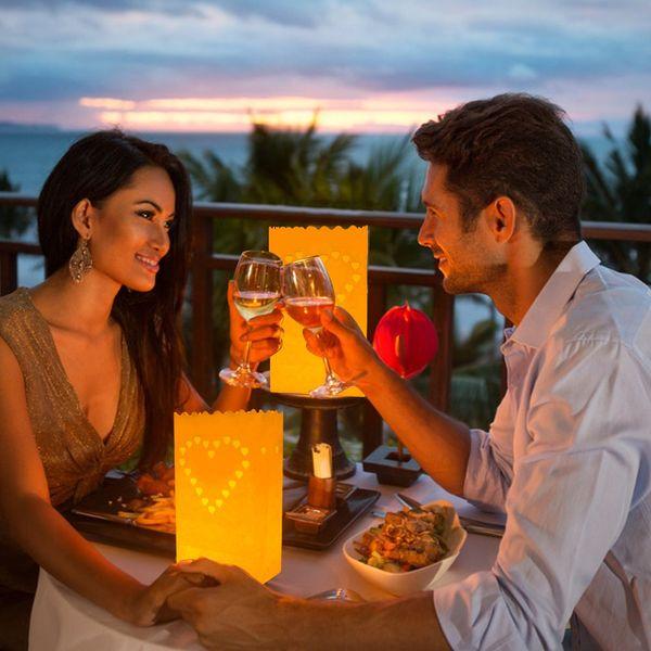 Sacchetti di Lanterna di Candela Sacchetti di Luminarie di Carta Bianca Star Buon Compleanno a Forma di Cuore Fuochi d'artificio di Sun per Matrimoni di Natale Decorazione di festa di compleanno