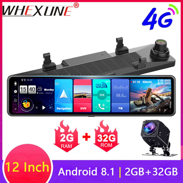 whexune dual fhd 1080p 4g android 12 inch stream media car rearview mirror bluetooth camera car dvr adas night wifi gps dash cam