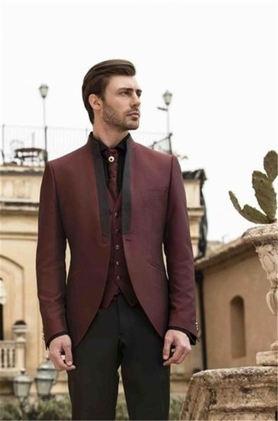 Burgundy Groom Tuxedos Three Pieces Mens Wedding Suits Custom Made Modest Slim Fit Mens Dinner Party Suit(Jacket+Vest+Pants)