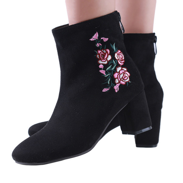 2018 Spring Autumn Women Brand Shoes Fashion Embroidery Thick High Heel Faux Sude Pointed Toe Floral Ankle Boots Square Heels 3
