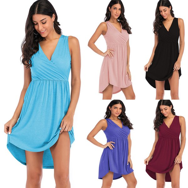 best selling New sleeveless dresses in Europe 2019 summer dress Casual Above Knee, Mini V-Neck vestidos verano