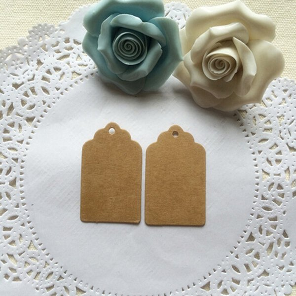 100Pcs 5x3cm brown Kraft Paper Ear Studs Card Hang Tag Jewelry Display Earring Favor Marking Garment Prices Label Tags
