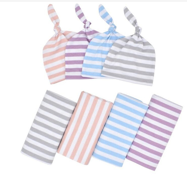 Newborn Swaddle Wrap Hat Stripe Cotton Baby Receiving Blanket Bedding Cartoon Cute Infant Sleeping Blankets For Boys Girls Free Shipping