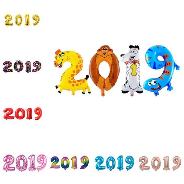 16 inch digital aluminum balloon 2019 new year company new year party decoration digital balloon set T8I065