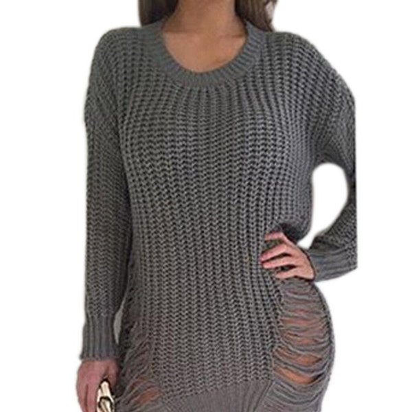 tout neuf 272bd 98151 Acheter Femmes Tricot Tricots Sexy Robe Pull Hiver Automne Robe Femme  Déchiré Trous Pull Pull Irrégulier Surdimensionné X0080 De $11.82 Du  Derrick83 | ...