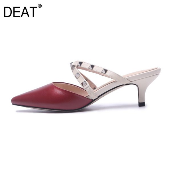 [DEAT] 2019 New Spring Summer Sharp Toe Shallow Rivet Outside Pu Leather Thin High Heels Slippers Women Shoes Fashion 10SJ381