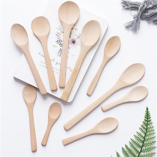 top popular Wooden Jam Spoon Baby Honey Spoon Small Coffee Spoon New Delicate Kitchen Using Condiment Scoop HT12 2021