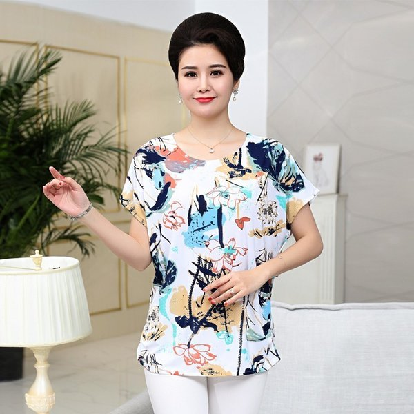 2019 Middle Age Women Loose Tee Shirts Summer Plus Size Bat Short Sleeve T-Shirt Quinquagenarian Mother Clothing Top