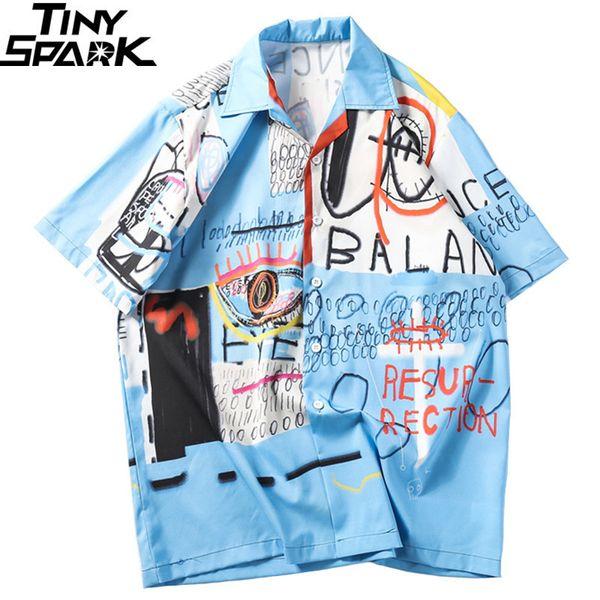 2019 Hip Hop Streetwear Männer Hawailian Graffiti Print Harajuku Strand Hiphop Shirt Sommer Dünne Tops Kurzarm C19042201