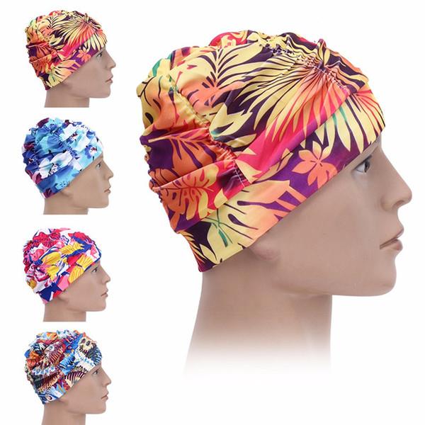 Yeni Yüzme Kapaklar Baskılı Uzun Saç Kap Su Geçirmez Kulak Koruma Rahat Beanie Şapka Yetişkin Kadın Sıcak Yüzme Şapka
