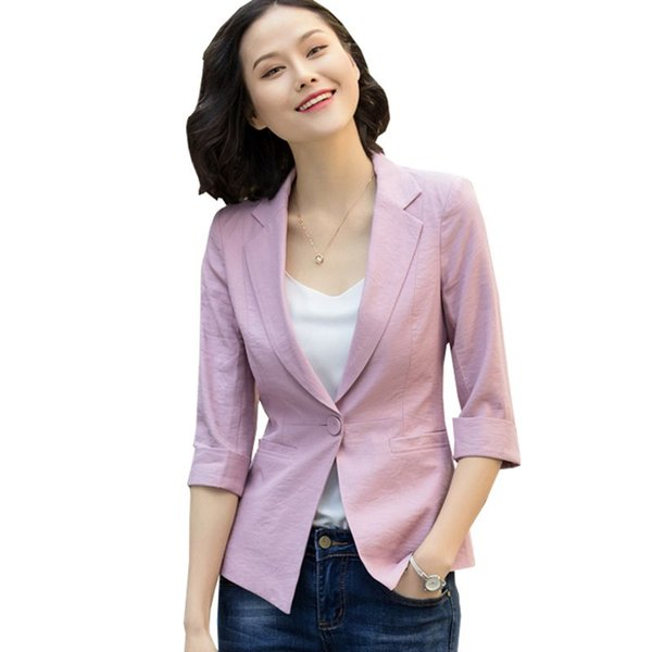 Femmes Printemps Nouveau Mode Blazer Femme Bureau Dames Solide Slim Veste Feminino Vintage Élégant Plus La Taille 3XL Costumes Manteau S205