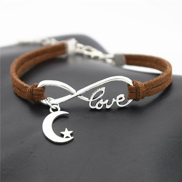 New Geometric Braided Dark Brown Leather Suede Bracelets 10 Styles Choices Infinity Love Elegant Star and Moon Design Spacial Birthday Gifts