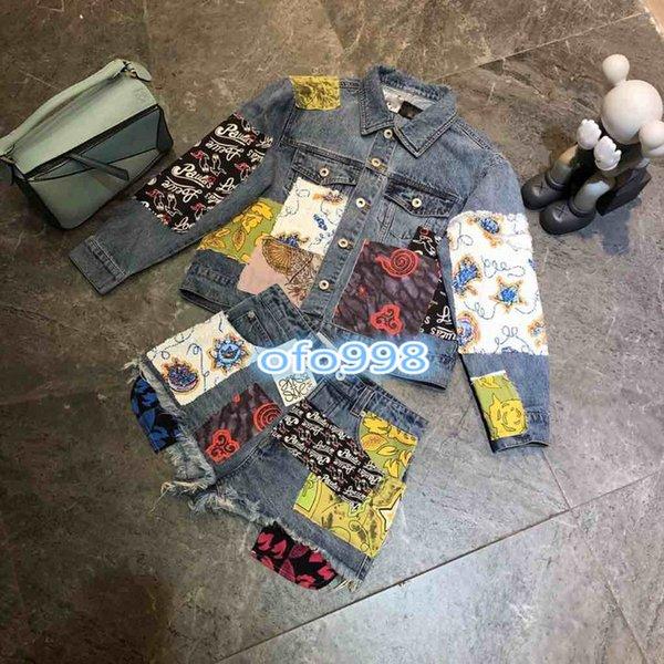 High end женщины девушки ковбой брюки костюм тяжелый блесток печати письмо карман женщины с длинным рукавом отворотом топы пальто и узкие шорты джинсовые твердые