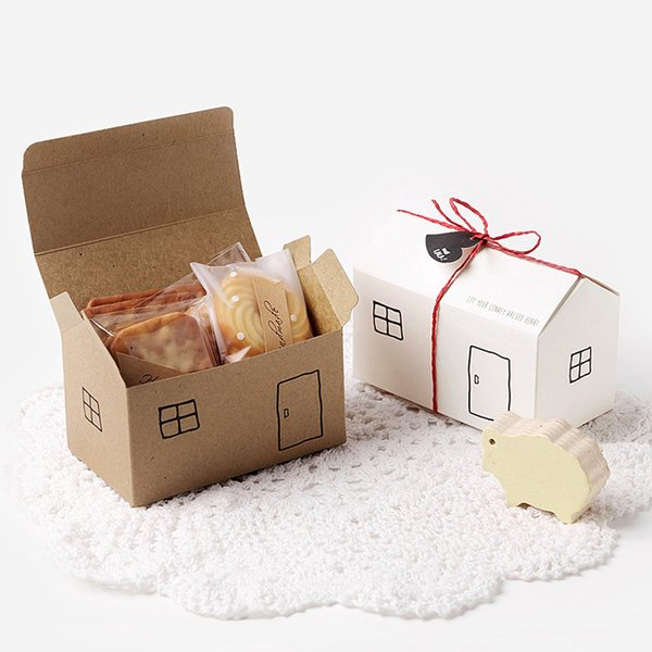 Caixas de presente de papel de casa 20 conjuntos Kraft branco caixa de favor de partido pacote de presente