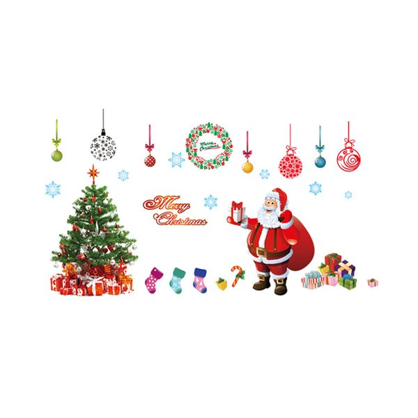 Christmas decoration wall stickers glass window stickers Santa Claus and snow tree sitting room bedroom