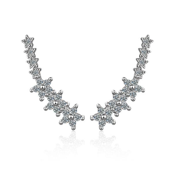 ED222 Boucles d'oreilles pour les filles juillet juin cadeau argent plaqué fleurs blanches rose cristal autrichien boucles d'oreilles goujons bijoux de mode