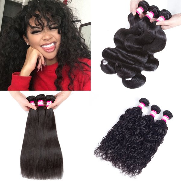 Factory Price Brazilian Malaysian Filipino Human Hair Weaves 3 6 9 Bundles Silky Straight Water Body Wave Deep Kinky Curly Virgin Hair Weave