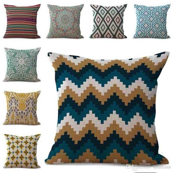 Geometric Pattern Diamond Stripes Flower Pillow Case Cushion Cover Linen Cotton Throw Pillowcases Sofa Car Decorative Pillowcover 240648