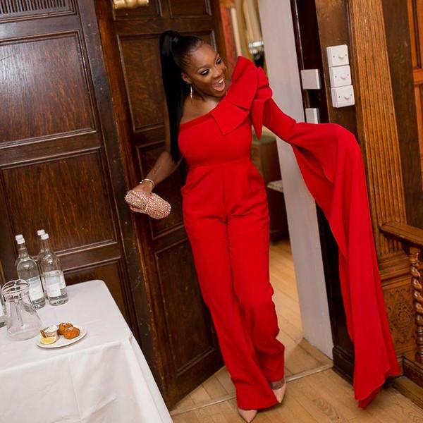 Hot Selling Red Jumpsuit Prom Dresses One Shoulder Ruffles Pocket Ankle Length Outfit Red Carpet Celebrity Dress