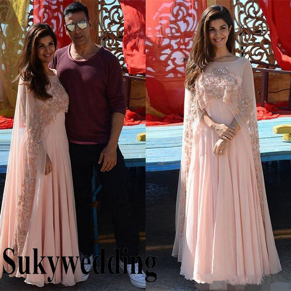 Blush Pink Evening Dresses with wrap Indian Arabic Kaftan Women Pageant Gowns Sheer Beaded Cape Formal Occasion Prom Party Gown Custom Make
