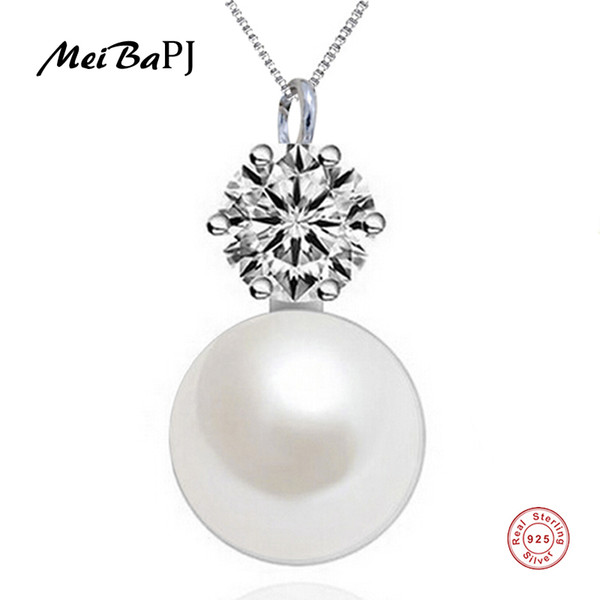 meibapj] simple pearl pendant necklace 925 sterling silver classic pendant with silver box chain fine jewelry for women