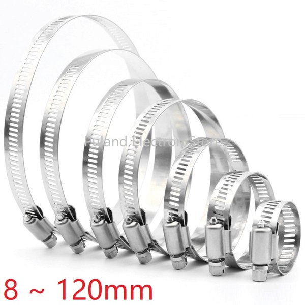 top popular 8mm ~ 120mm Stainless Steel Drive Hose Clamp Adjustable Tri Gear Worm Fuel Tube Line Water Pipe Fastener Fixed Clip Spring Hoops 2021