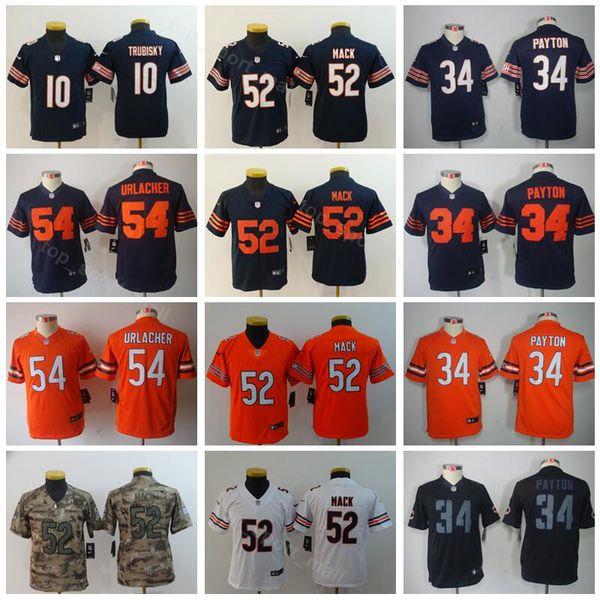 15927d42 2019 Youth Chicago Bears Jersey Kids 10 Mitchell Trubisky 34 Walter Payton  52 Khalil Mack Children Football Jerseys Dark Blue Orange White From ...