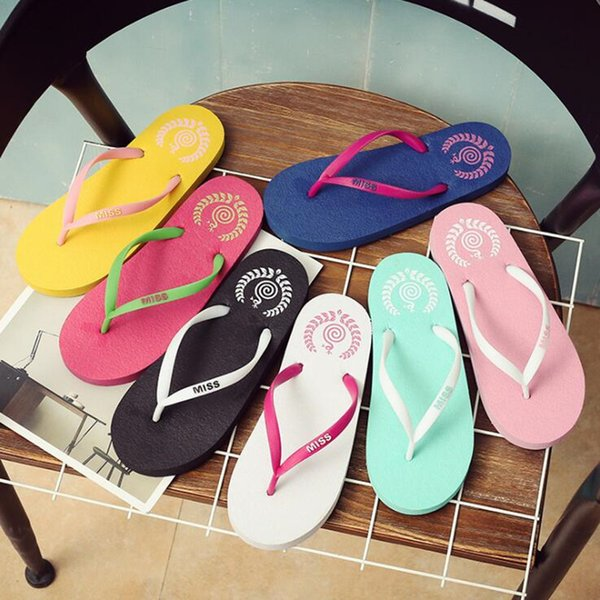 2019Wholesale Free Shipping Special SALES Candy colors Womens Beach Summer Slippers Flip Flops Couple slippers Multi -Color pink dog slippe