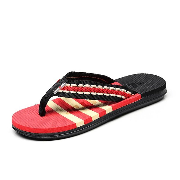good Quality Fashion Men Summer Outdoor Stripe Flip Flops Shoes Casual Sandals Male light Slipper outdoor beach Flip-Flops