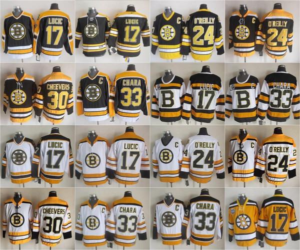 Boston 17 Milan Lucic Bruins Jersey Erkekler 33 Zdeno Chara 24 Terry O'Reilly 30 Gerry Cheevers 75th Vintage CCM Siyah Beyaz En Kaliteli