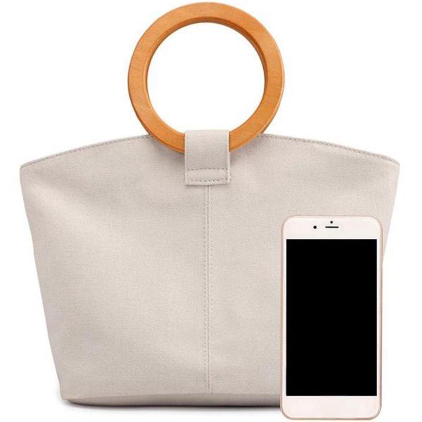 Sac à main rond en bois pour femmes Casual Casual Sac à main pour femme Sac à main grand sac à main Shopping