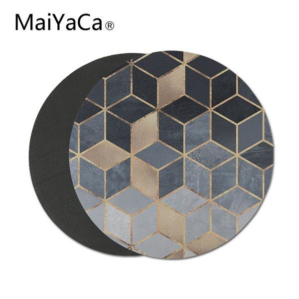 MaiYaCa soft blue gradient cubes Non-Skid Rubber Mouse Pad Personalized Round Mouse Pads