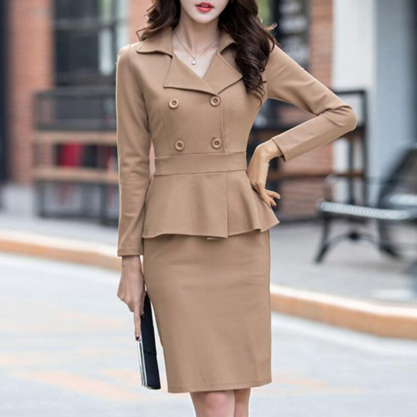 Brand Womens Dress Suits Double Breasted Blazer+Pencil Dress Formal Wear  Office Lady Work Business Outfit 2 Piece Female Clothes 88f2b1474