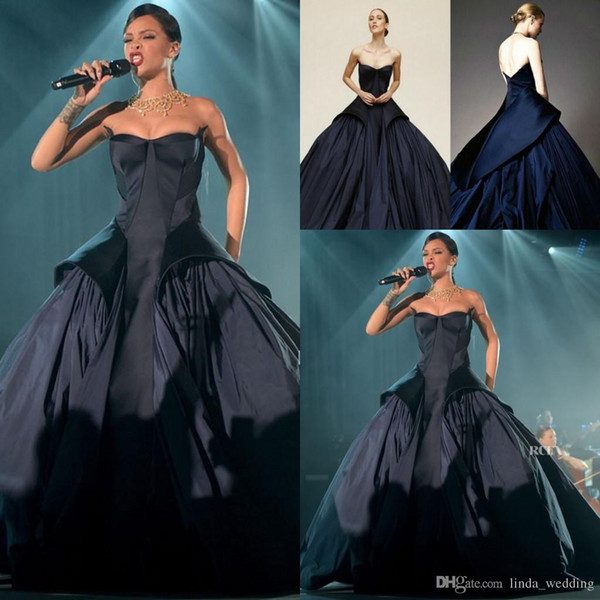 Rihanna Navy Blue Evening Dress High Quality Backless Women Wear Prom Party Dress Formal Event Gown