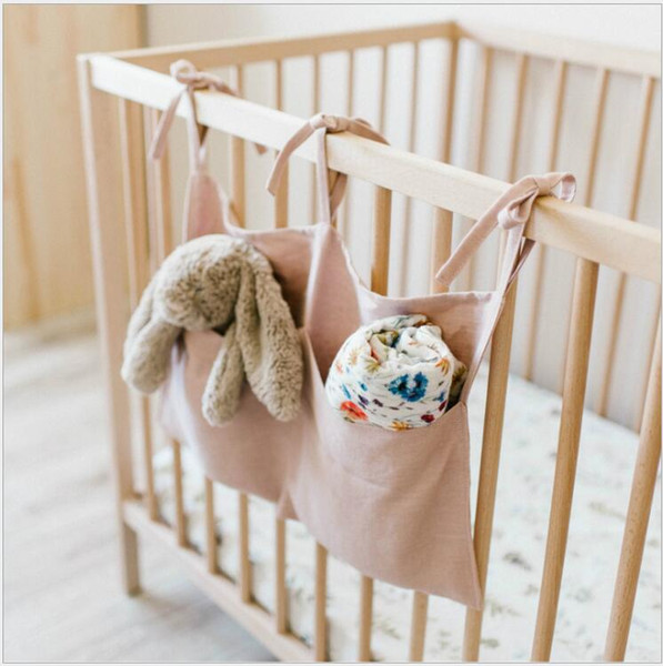 Bed Hanging Baby Storage Bag Crib Baby Bed Baby Crib Organizer Natural Linen 54*59cm Toy Diaper Pocket For Bed Crib Set 4 Colors