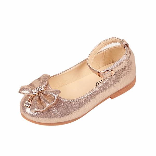 2018 Hot Outono Meninas sapatos de couro Crianças meninas bebê princesa bowknot sapatilhas de diamante pérola sólidos sapatos de dança crianças