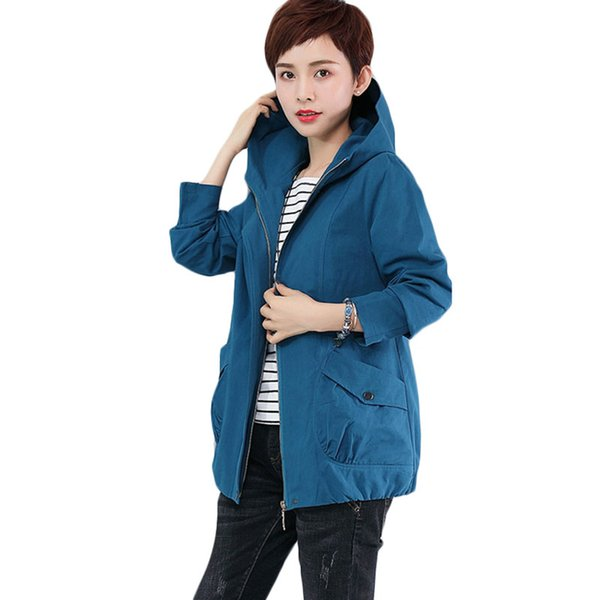 New Middle-aged mother Loose Spring Autumn Trench Coats Korean Short Jacket Plus size Women's Korean Jacket wind Clothes F034