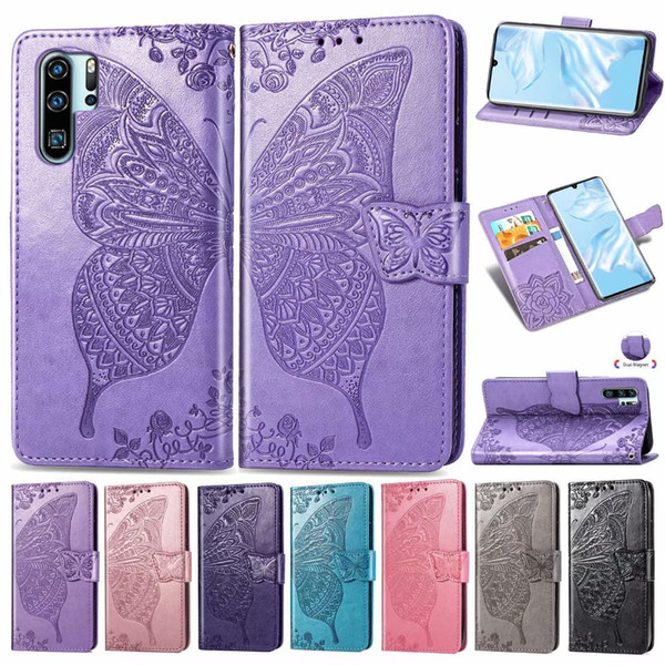 Flower Butterfly Wallet Leather Pouch Case card holder with stand For Huawei P30 Huawei P30 Pro Huawei P30 Lite