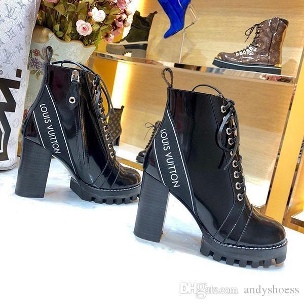 Mode Luxe Femmes de haute qualité à lacets Bottines en cuir et semelles lourdes loisirs dame bottes Martin grande taille 42