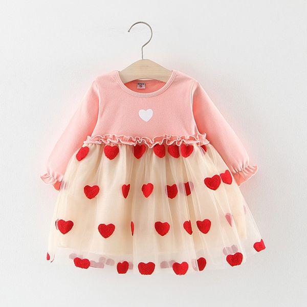 Baby Girls Beautiful Tul fruncido Patchwork Love Heart Print Dress Princesa Primavera Otoño Manga larga Baby Girls Tutu Dress E1