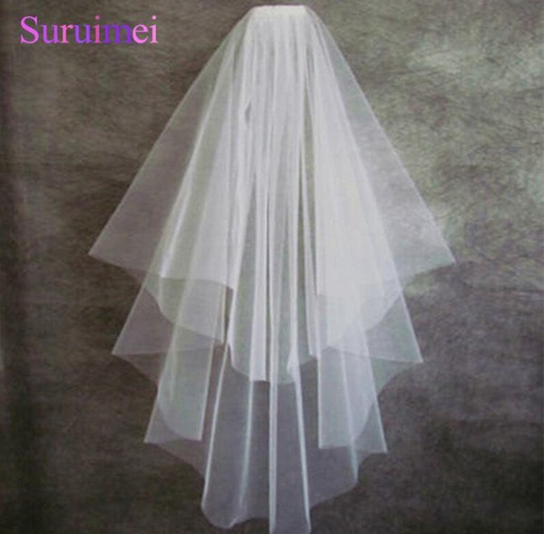 free shipping e Packet robe de mairee two layers bridal veils wedding accessories kiss bride veil weddings